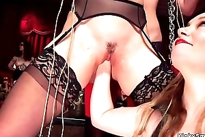 Anal sombre slut banged at s&m orgy