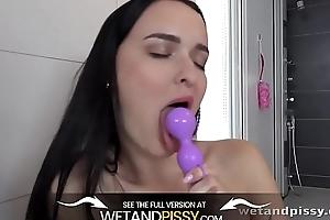 Brunette hottie tastes her auriferous piss - Peeing Her Pants