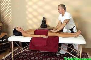 Filmed massage babe tugging and sucking cock