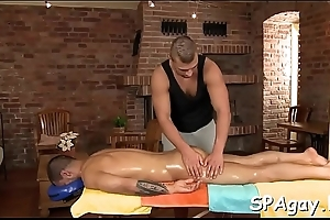 Hunk gets lusty ass ride herd on not later than massage