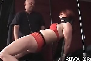 Nipple pangs and fake penis play be required of ballgagged floozy