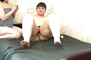 Lesbian licking pussy fat girlfriend and fucked in anal, accurate muff diving and mutual masturbation.