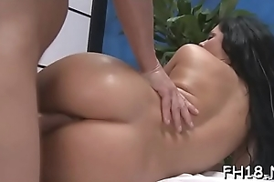 Cute plus hot drilled hard by their way massage therapist