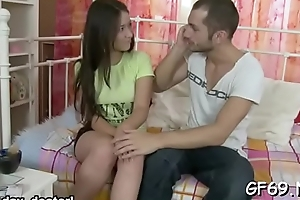 Enchanting darling acquires her pussy fucked till sore by two hunks