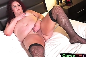 SSBBW shemale jerking say no to dick in stockings