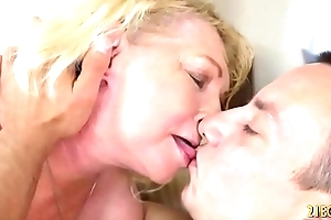 Horny blonde granny enjoys hard flannel with reference to her vagina
