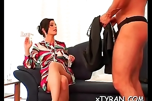 Lewd fetish shtick with ladies' object dominated by sexy babe