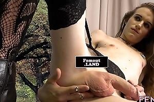 Tattooed lady-man debutante tugs heavens say no to dick