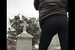 Ass in leggings outside