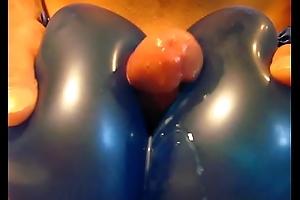 Cumshot between two balloons