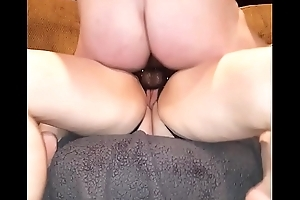 Sexy bitch pegging her man, two views