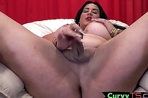 Busty tranny infant touches her cock