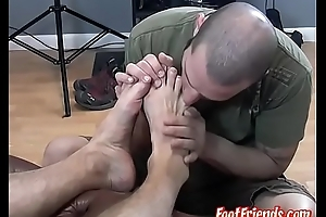 Colossal homo Dog relaxed with passionate toe engulfing