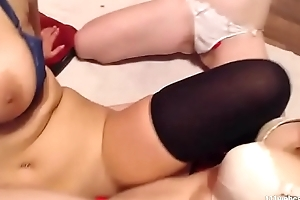Bush-leaguer busty lesbians rub their wet cracks on webcam