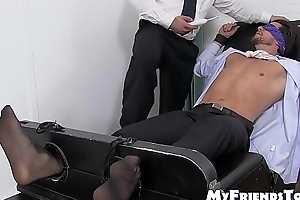 Blindfolded and restrained stud gets hard tickling