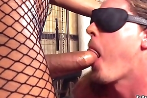 Popular tits shemale in fishnets bangs guy
