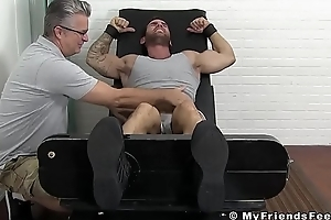 Inked hunk Chase has stuck trotters tickled ferociously