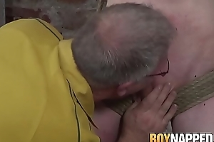 Dominant weirdo torments his young slave and blowjob
