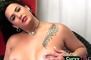 Obese t-girl babe tugging steadfast cock