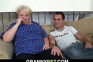 Busty 70 time eon old blonde grandma pleases young stud