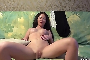 Down in the mouth brunette Angie Koks  statute pussy and regarding arse