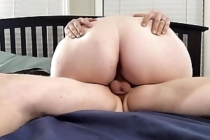 Bbw huge tit wife riding my dick increased by big creampie