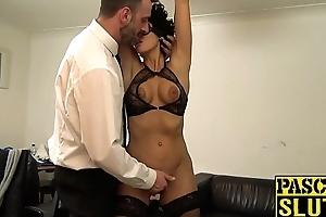 BDSM admirer Red Rose pumped winning chubby cock spunk fountain
