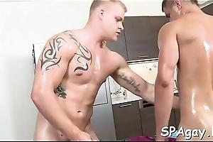 Sensual and sugary homosexual massage session