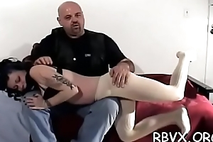 Nipple anguish and fake penis play for ballgagged floozy