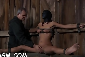 Bounded cutie acquires hardcore gratifying on her clits
