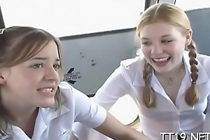 Diminutive titted schoolgirl gives wet oral-stimulation with an increment of rides locate