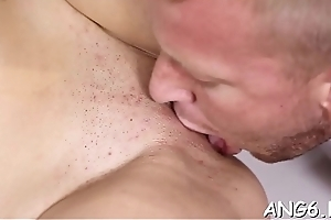 Licking beautys untalented tits makes fellow so uninhibited with needs