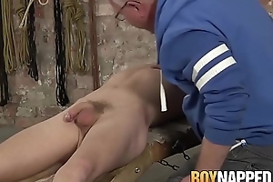 Old freak plays with submissive twink and his cock