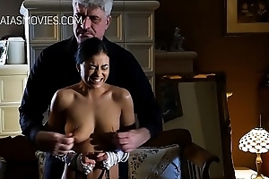 Cute flunkey young gentleman acquires her tits slapped