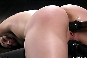 Sexy arse unlighted pussy fucked in gadget