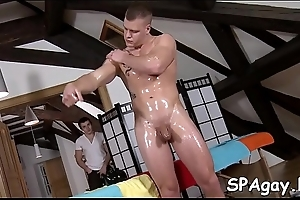 Sexy hunk is getting his account sucked by limp-wristed masseur