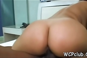 Chick rides up penis and starts bouncing on colour up rinse very fast