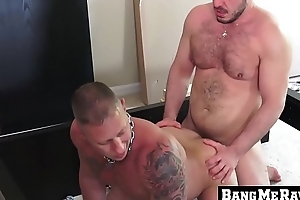Inked butt muncher twists let go be required of barebacking doggy titling