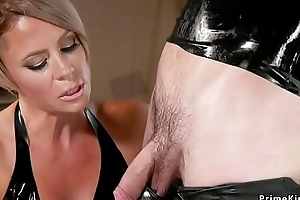 Milf blonde submits male in ribber accommodate
