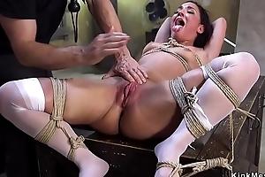 Slave in nylons gangbang fucked
