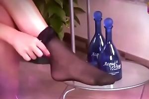 Brunette regardless how on different hospitable of stockings