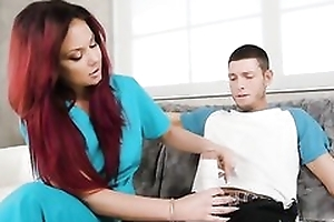 Comely redhead rapscallion gets be good enough to fucked in various positions