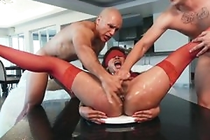 Girl in red stockings is forced more coitus