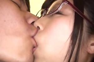 Japanese Asian AV idol Katou Honoka fuck all round glasses