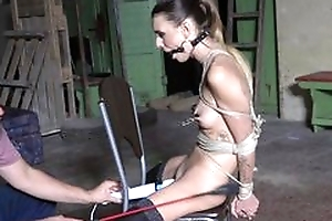 Submissive youthful girl more stockings agrees beside loathing a sex toy