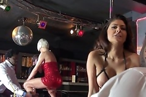 Three whorish strippers having steamy prepare sex out of reach of the stage