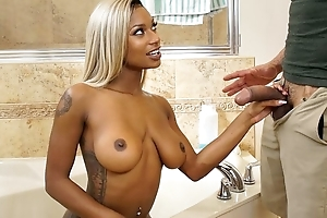 Blonde-haired ebony with natural boobs shagged in hammer away bathroom