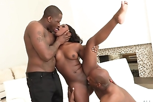 All-natural ebony gets both of her holes plenary with huge dicks