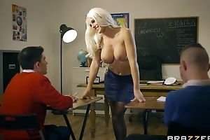 Bosomed teacher in black stocking seduced three skinny chaps