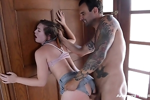 Spunky brunette with natural interior screwed through the hole in her shorts